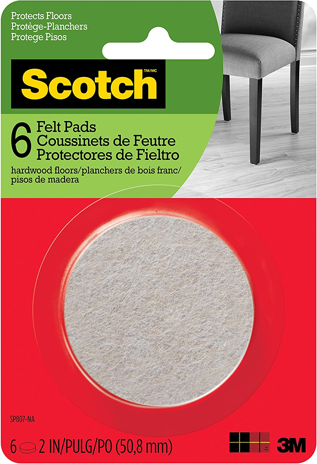Scotch Mounting, Fastening & Surface Protection SP807-NA Scotch Felt Pads Round, 2 in. Diameter, Beige, 6/Pack,