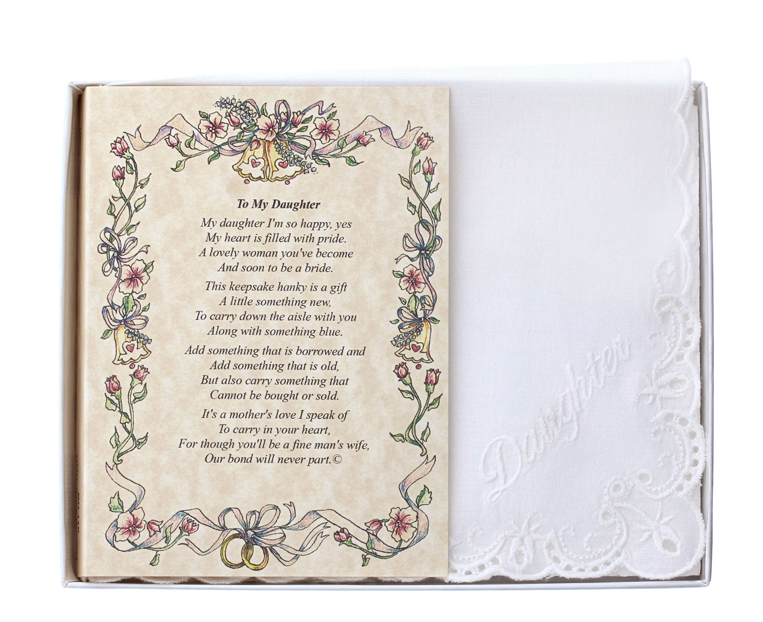 Wedding Handkerchief Poetry Hankie (Mother to Daughter) White, Lace Embroidered Bridal Keepsake, Beautiful Poem | Long-Lasting Memento for the Bride | Includes Gift Storage Box
