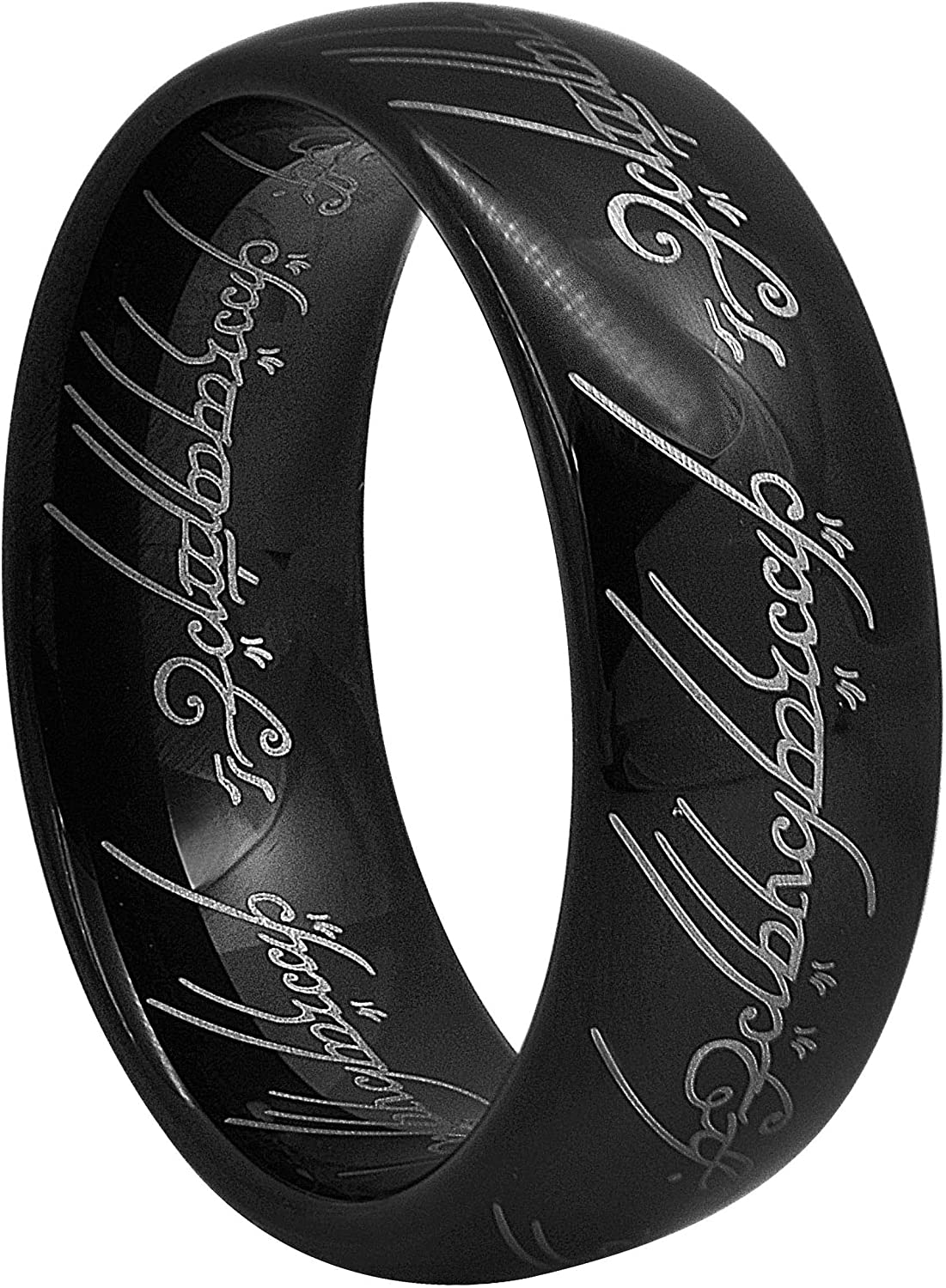Kingary 8mm The Magic Ring Black Blue Tungsten Carbide Ring Band for Men Women Comfort Fit Size 4 to 16