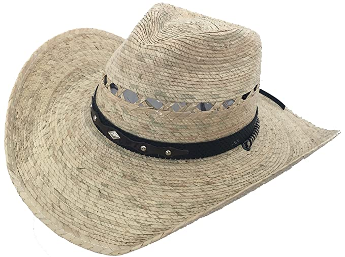 Mexican Palm Western Sombrero Cowboy Hat Safari Sun Lifeguard Gardener SPF  Big Brim at Amazon Men s Clothing store  d50696fb970