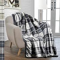 PAVILIA Premium Sherpa Throw Blanket for Couch Sofa | Soft Micro Plush Reversible Throw | Lightweight All Season Plaid Design Fleece Blanket (50 X 60)