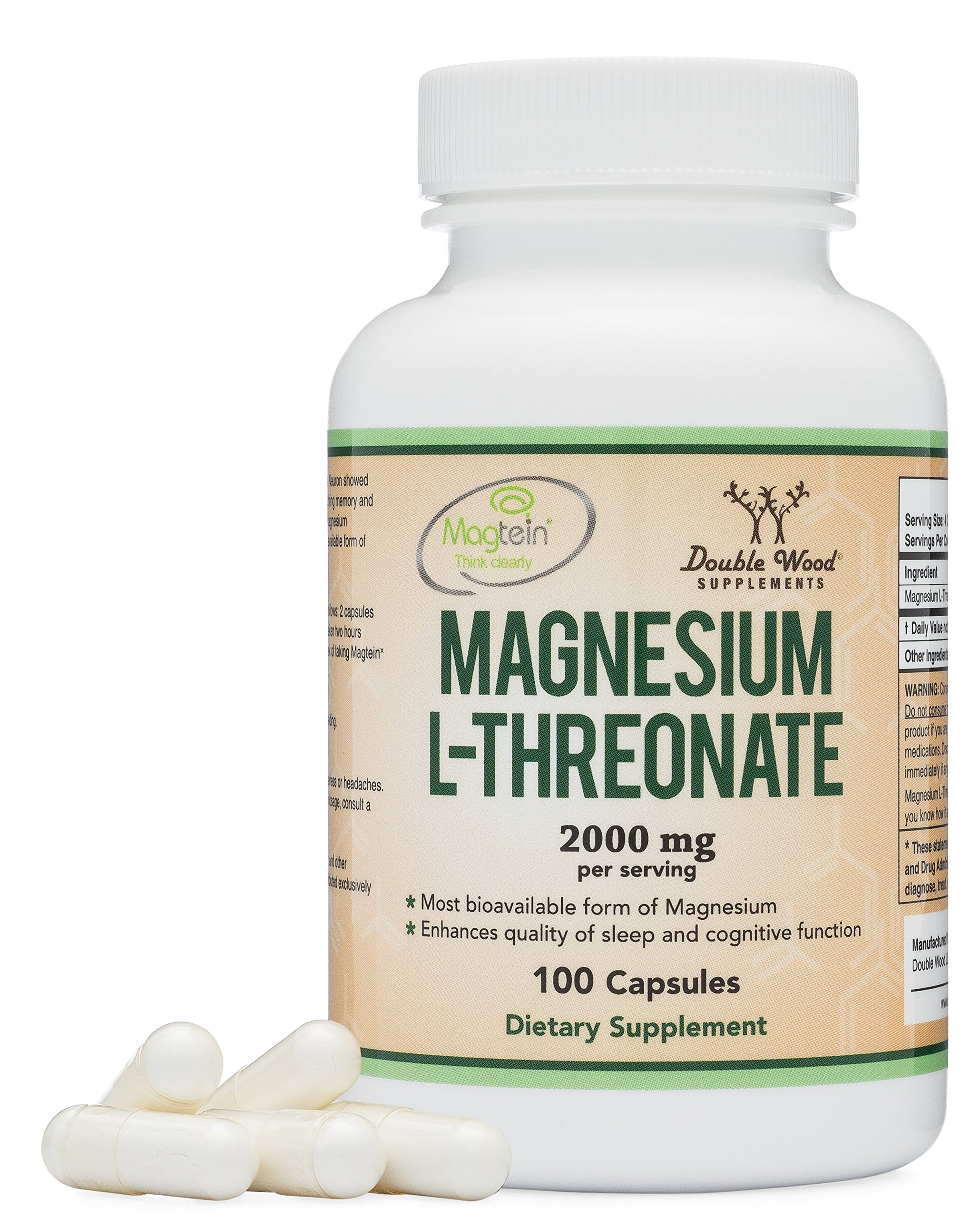 Magnesium L Threonate Capsules (Magtein) - High Absorption Supplement - Bioavailable Form - 2,000 mg - 100 Capsules by Double Wood Supplements