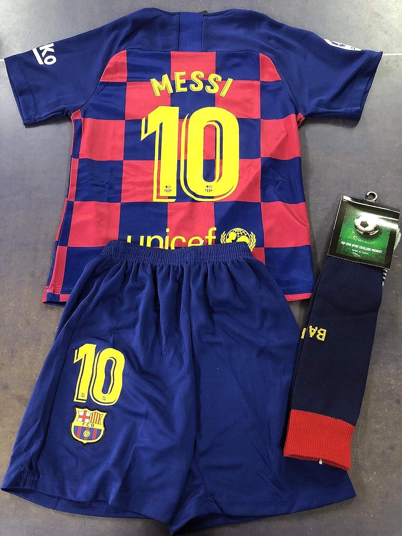 Messi 10# New Soccer Jersey Barcelona Home 2019//2020 Season Kids Socce Jersey Matching Shorts Socks