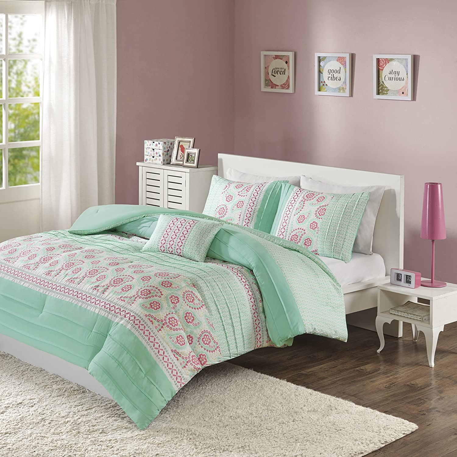 Mi-Zone Suzette Comforter Set Twin/Twin Xl Size - Seafoam Green, Pleated Floral Paisley – 3 Piece Bed Sets – Ultra Soft Microfiber Teen Bedding For Girls Bedroom