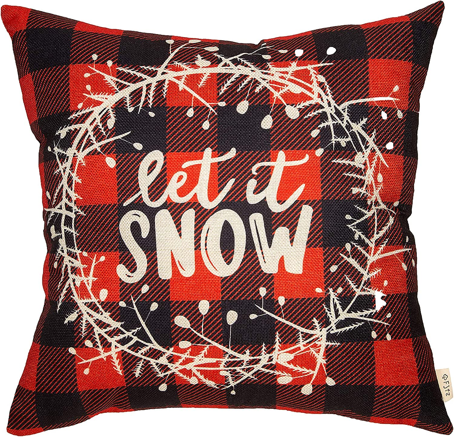 """Fjfz Christmas Holiday Decor Red and Black Buffalo Checkers Plaid Let it Snow Winter Sign Decoration Cotton Linen Home Decorative Throw Pillow Case Cushion Cover with Words for Sofa Couch, 18"""" x 18"""""""