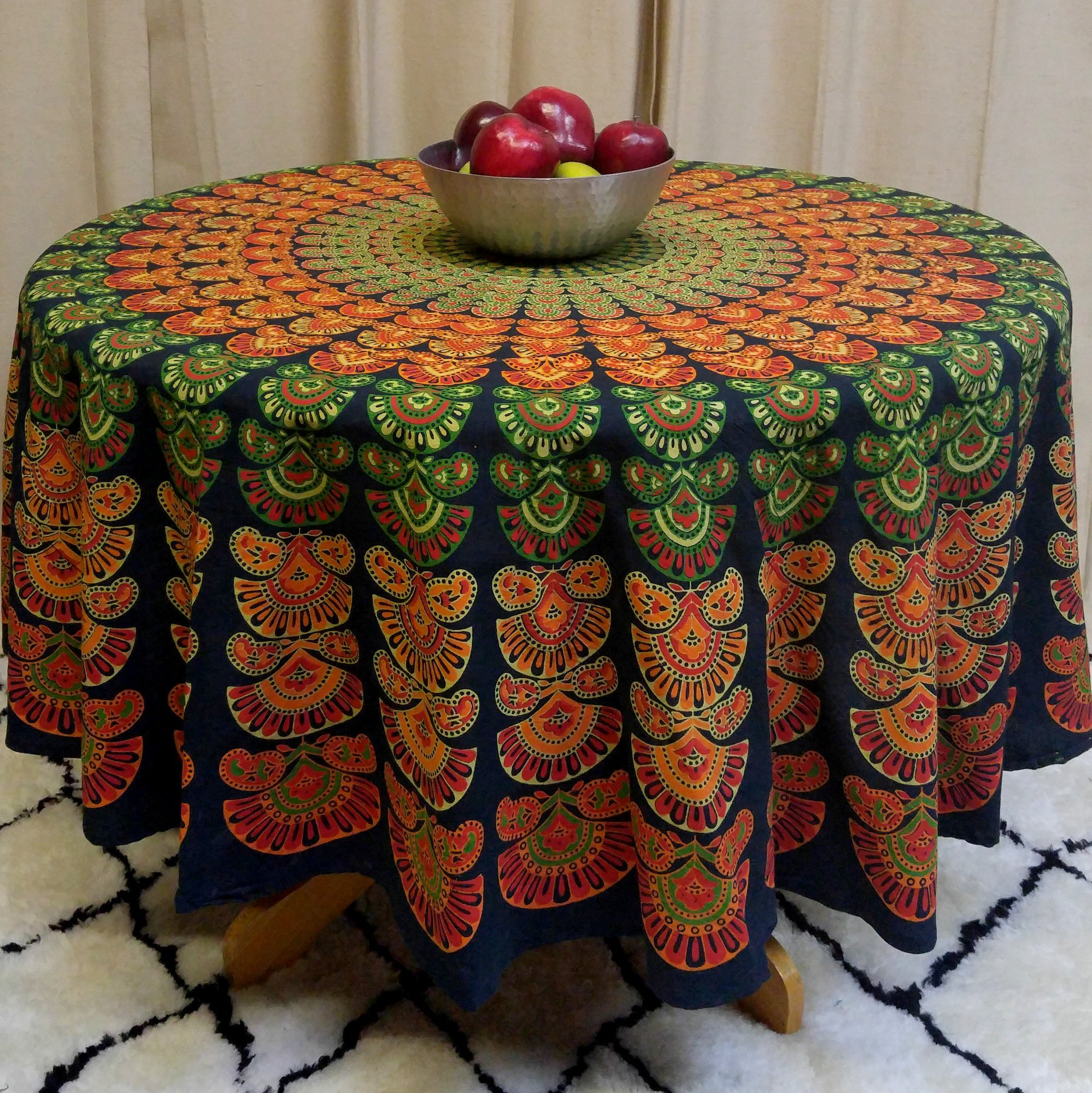 India Arts Tablecloth ~ Several Sizes Available ~ 100% Cotton (TC05006) (Green Peacock Mandala, 72'' Round)
