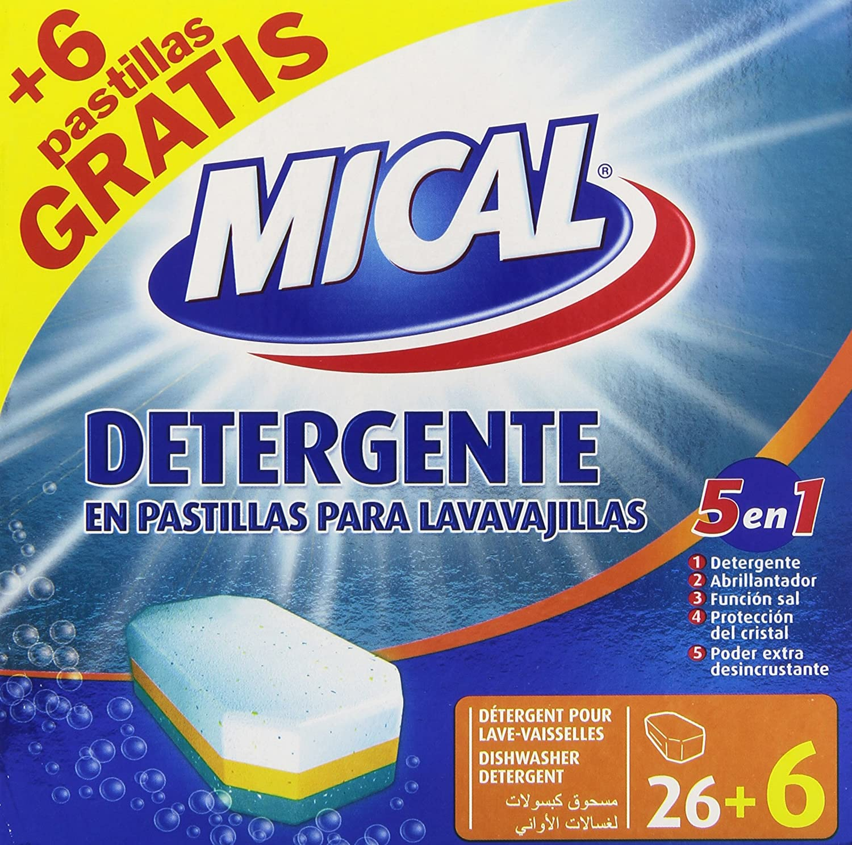 Mical - 5 en 1 - Detergente en pastillas para lavavajillas - 32 ...