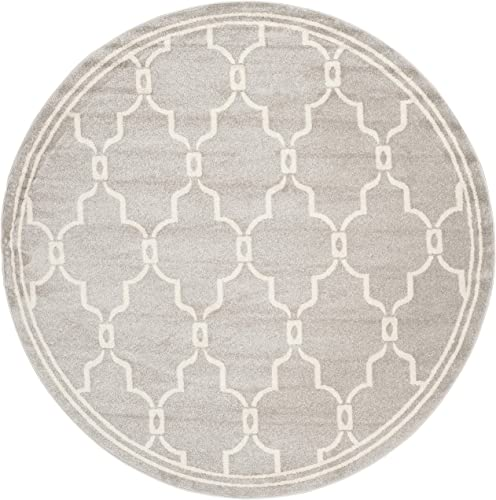 Safavieh Amherst Collection AMT414B Light Grey and Ivory Round Area Rug