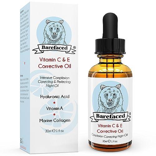 BeBarefaced Vitamin E Face Oil - Facial Vitamin C Night Serum With Hyaluronic Acid