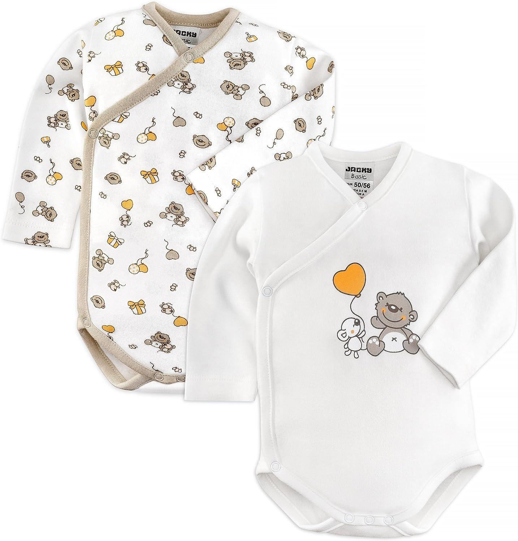 Jacky - Body para bebé (2 unidades, manga larga, 100% algodón, certificado ÖkoTex, lavable a máquina), color blanco y beige