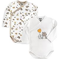 Jacky Body para bebé, pack de 2 unidades, de manga larga, 100% algodón (certificado ÖkoTex, lavable a máquina), suave…