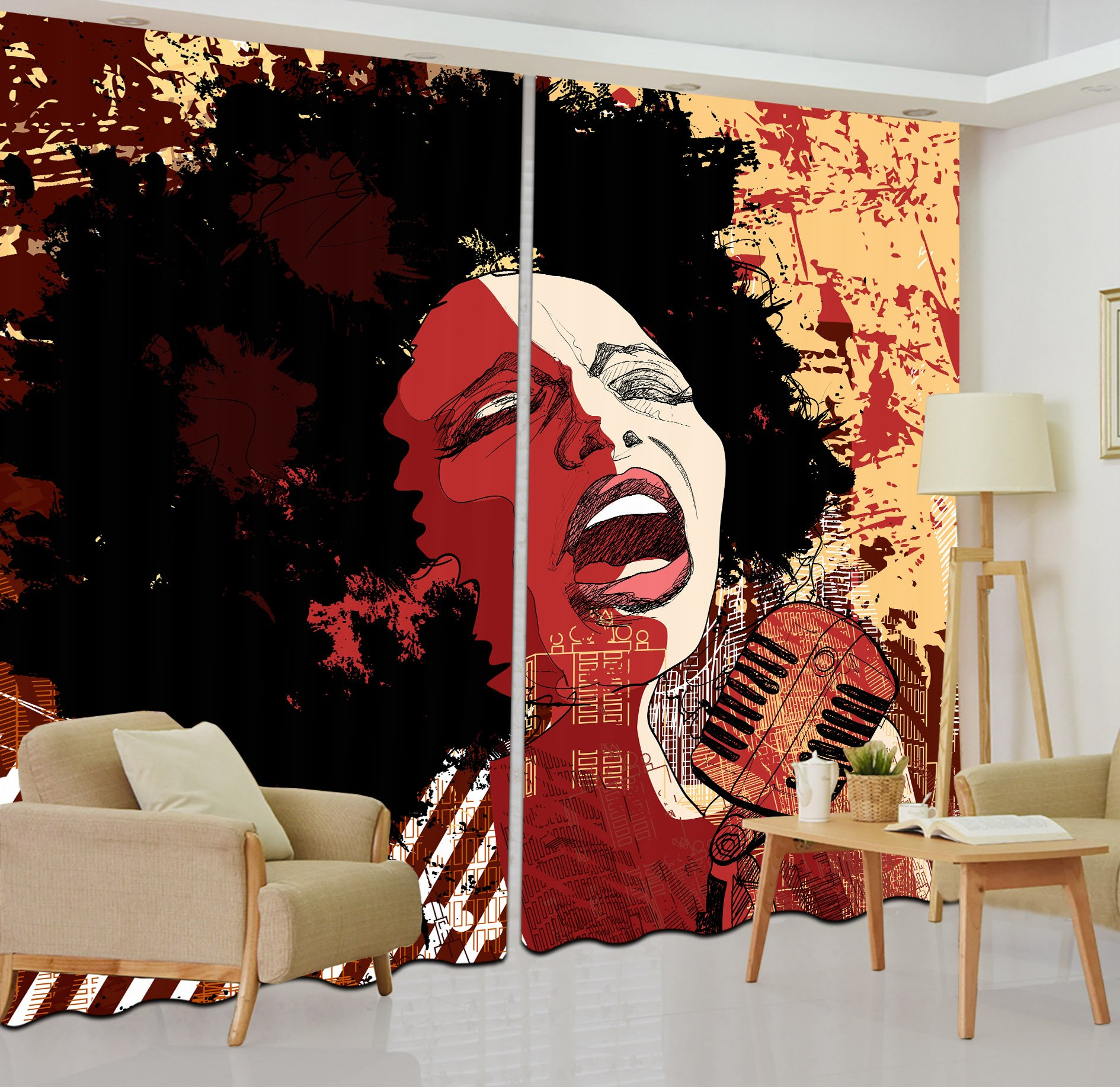 LB African Decor Curtains,2 Panels Room Darkening Blackout Curtains,Singing African Girls 3D Effect Print Window Treatment Living Room Bedroom Window Drapes,80 x 84 Inches