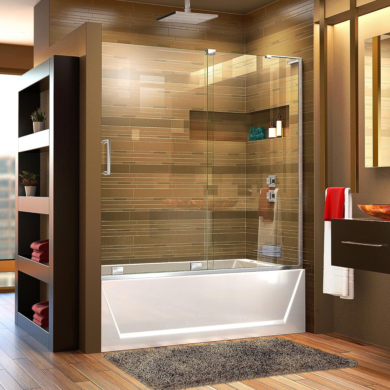 DreamLine Mirage-X 56-60 in. Width, Frameless Sliding Tub Door, 3 8 Glass, Chrome Finish