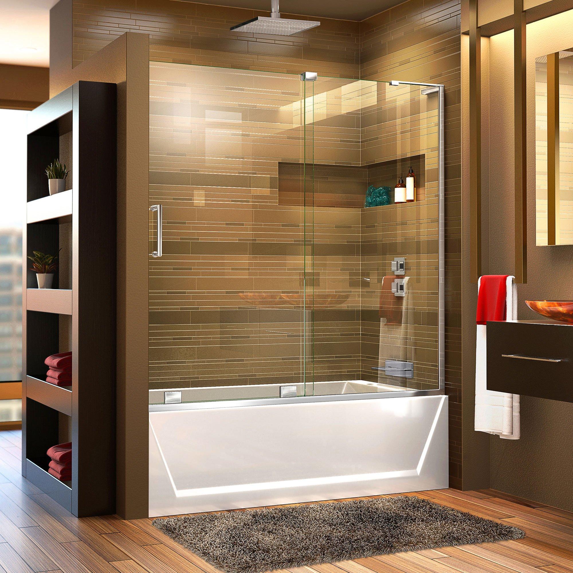 DreamLine Mirage-X 56-60 in. Width, Frameless Sliding Tub Door, 3/8'' Glass, Chrome Finish