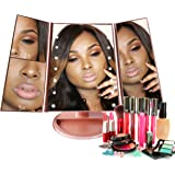 ANGELGEAR MAKEUP MIRROR LED Lights Touch Screen Adjustable | For your CLEAREST Reflection |Trifold with 180 Degrees Rotation 1x2x3 Magnification | Dual Power(Rose Gold)