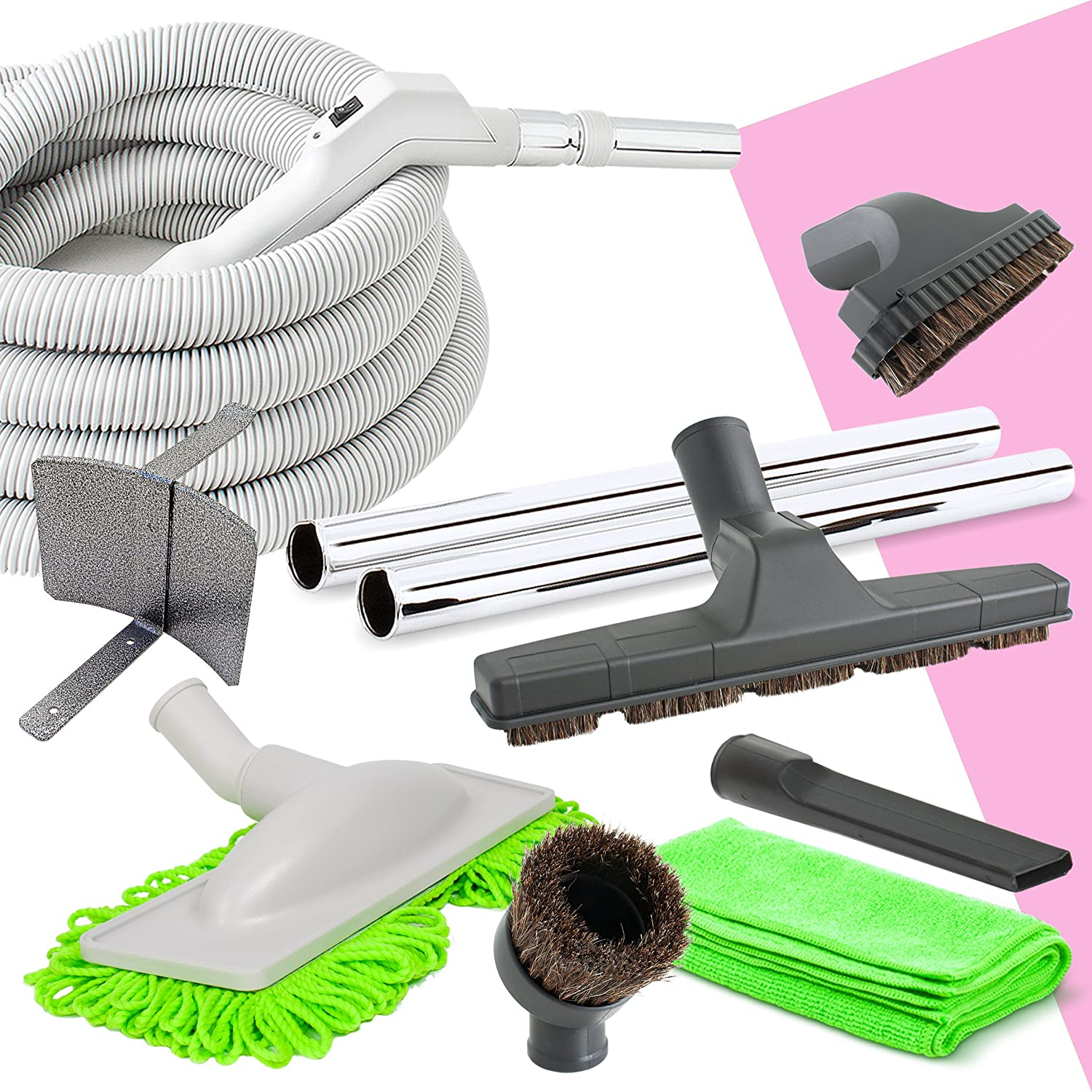 Deluxe Central Vacuum Hose and Accessories Kit Ideal for Hardwood and All Types of Bare Flooring (30ft) Plastiflex AM2016006-30