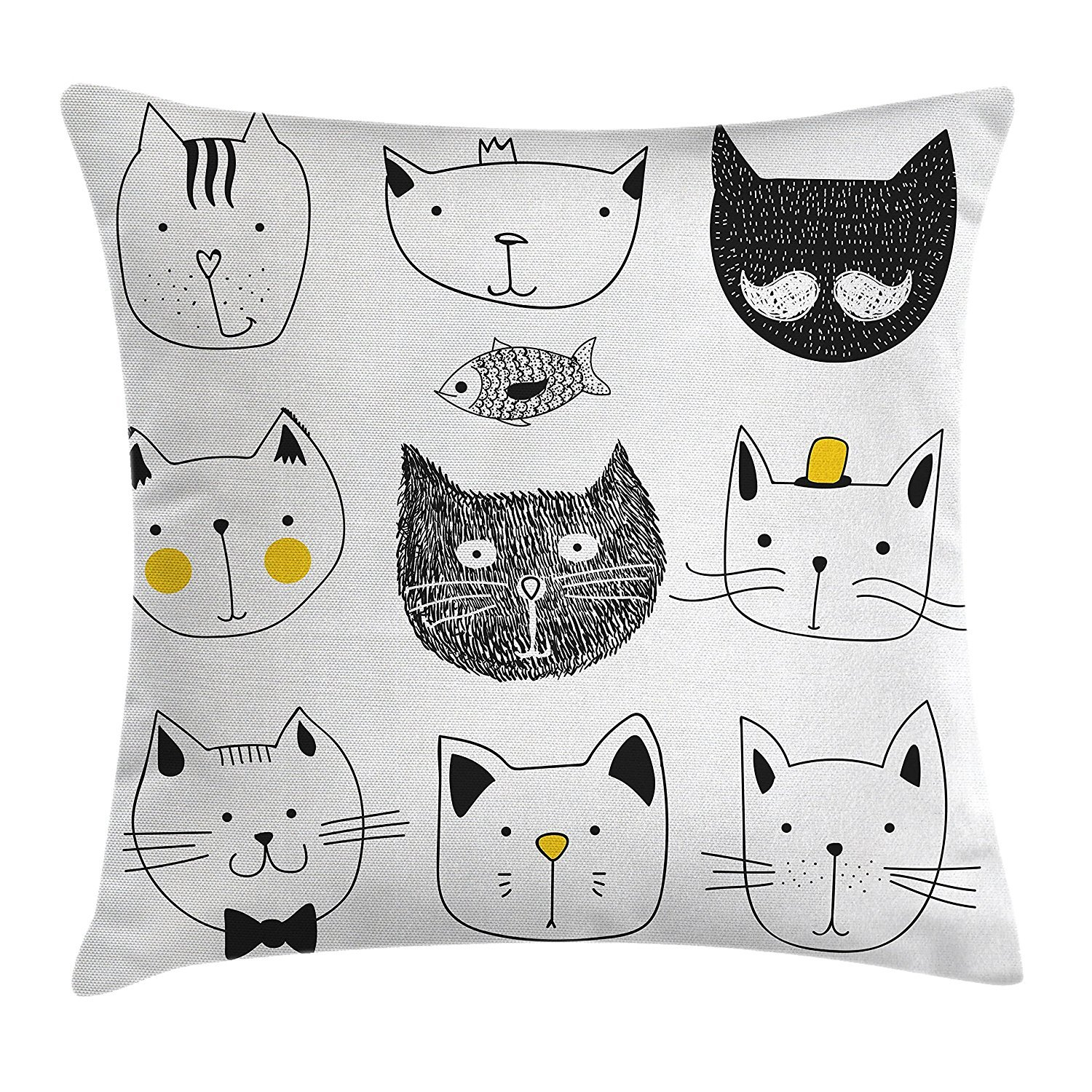 Cat Throw Pillow Cushion Cover, Stylish Cats with Moustache Bow Tie Hat Crown Fluffy and Fish Humor Faces Graphic, Decorative Square Accent Pillow Case, 18 X 18 inches, Yellow Grey cyg5fw7r
