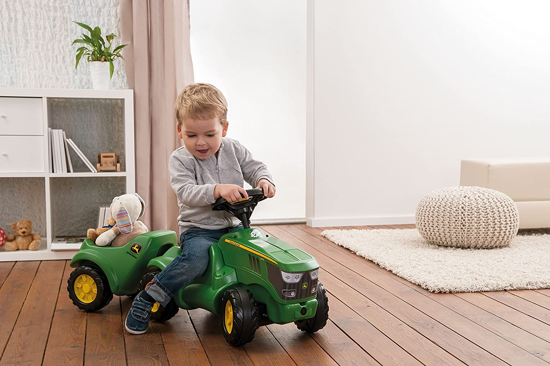Lenkrad mit Hupe Ablagefach unter Motorhaube f/ür Kinder ab 1,5 Jahren, Farbe: Gr/ün Babyrutscher Motorhaube /öffenbar Rolly Toys 132072 Traktor Minitrac John Deere 6150R