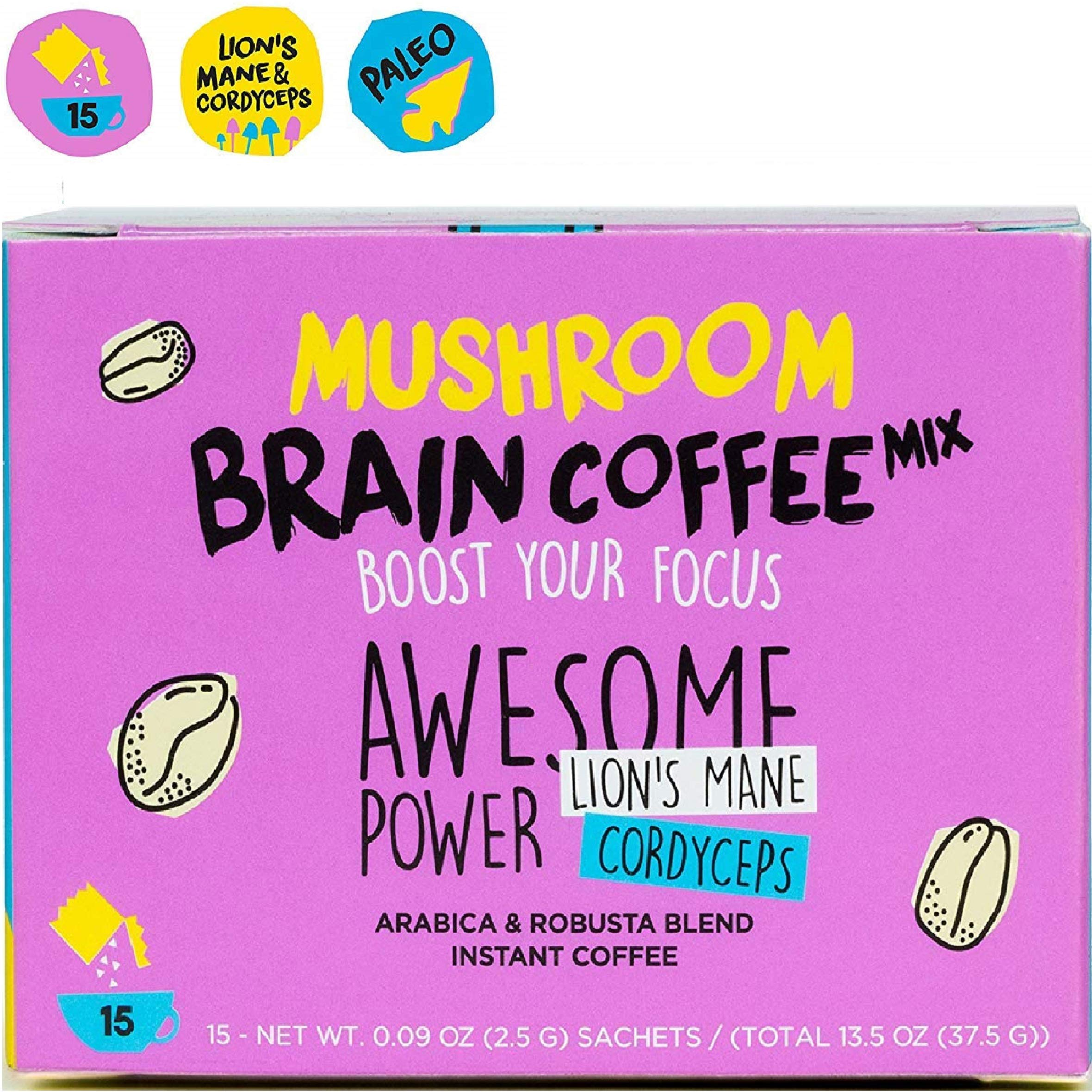 Instant Mushroom Coffee with Lions Mane and Cordyceps Mix for Brain Memory Focus 15 Pack Concentration Energy Booster Shroomzup Arabica Robusta Powder Paleo Vegan Organic Natural Vitamins by Shroomzup
