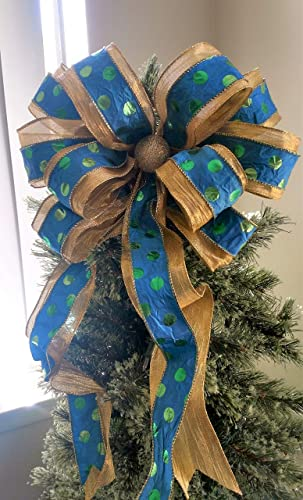 Gold And Blue Christmas Bow Christmas Tree Topper Bow Blue And Gold Tree Topper Holiday Bow Christmas Decoration Tree Topper