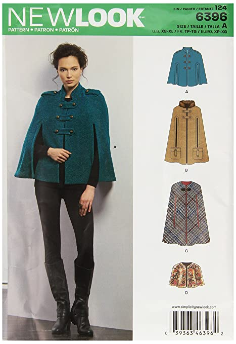 New Look Sewing Pattern 6396: Misses\' Capes and Capelets, Size A, A ...
