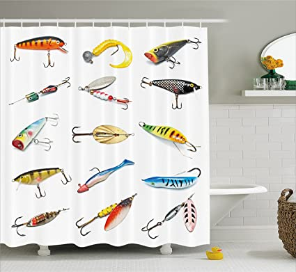 Fishing Themed Shower Curtains.Ambesonne Fishing Decor Shower Curtain Several Fish Hook Equipment Objects Trolling Angling Netting Gathering Activity Fabric Bathroom Decor Set