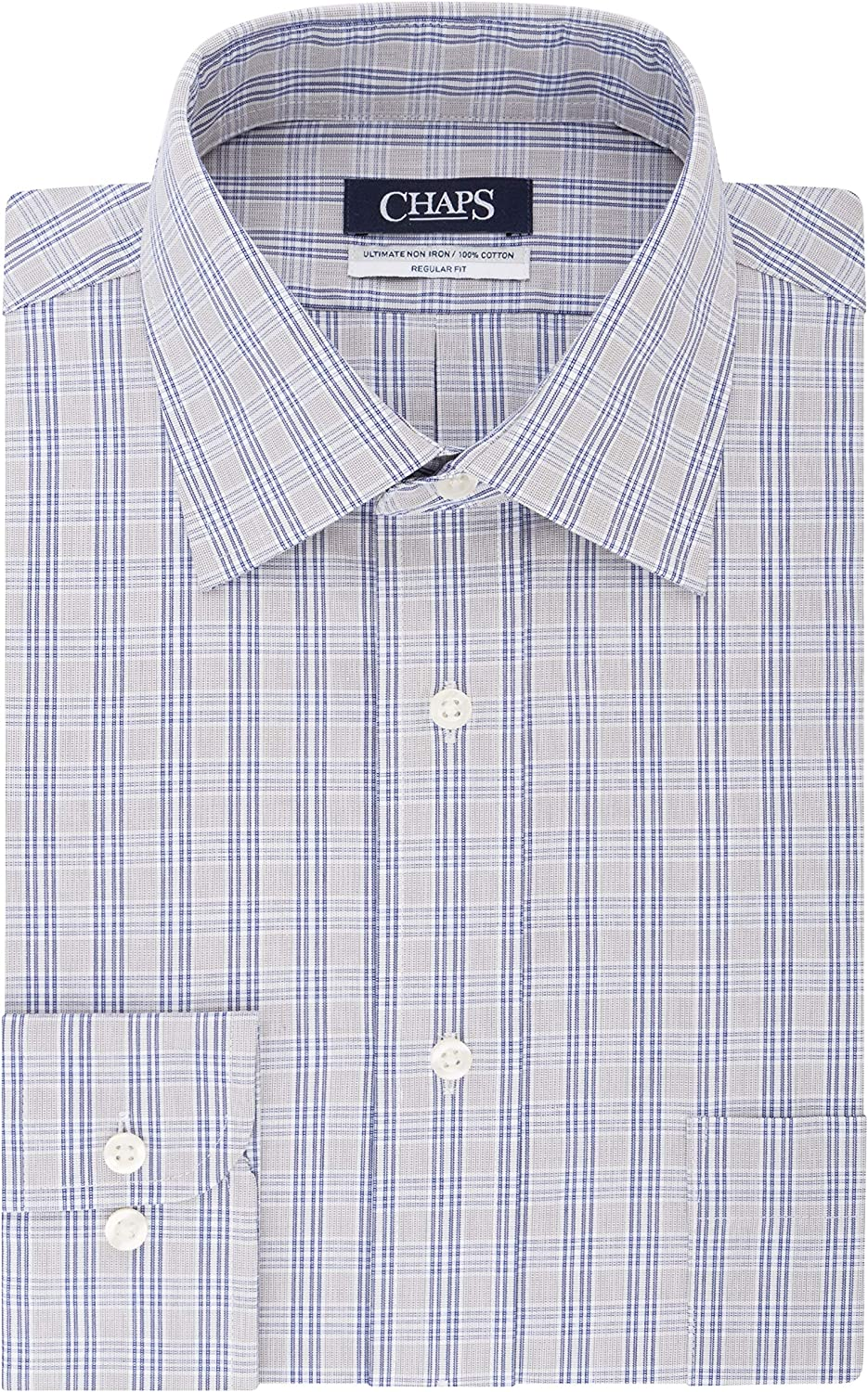 Chaps Mens Dress Shirts Regular Fit Stretch Spread Collar Plaid ...
