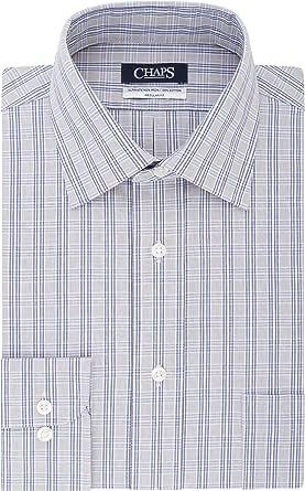 Chaps - Camisa de vestir para hombre, ajuste regular, diseño de cuadros - Gris - 39.37 cm cm cuello/81.28/83.82 cm manga (M): Amazon.es: Ropa y accesorios