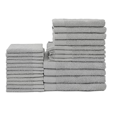 Baltic Linen Multi Count 100% Cotton Towels, 4 Bath Towels, 4 Hand Towels, 4 Fringed Fingertips, 12 Washcloths, Graphite Grey, 24 Piece Set