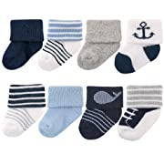 Luvable Friends Unisex 8 Pack Newborn Socks, Nautical, 0-6 Months