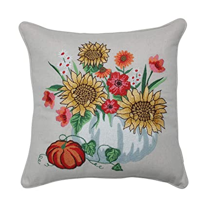 Amazon.com: CC Home Furnishings - Cojín bordado de flores y ...