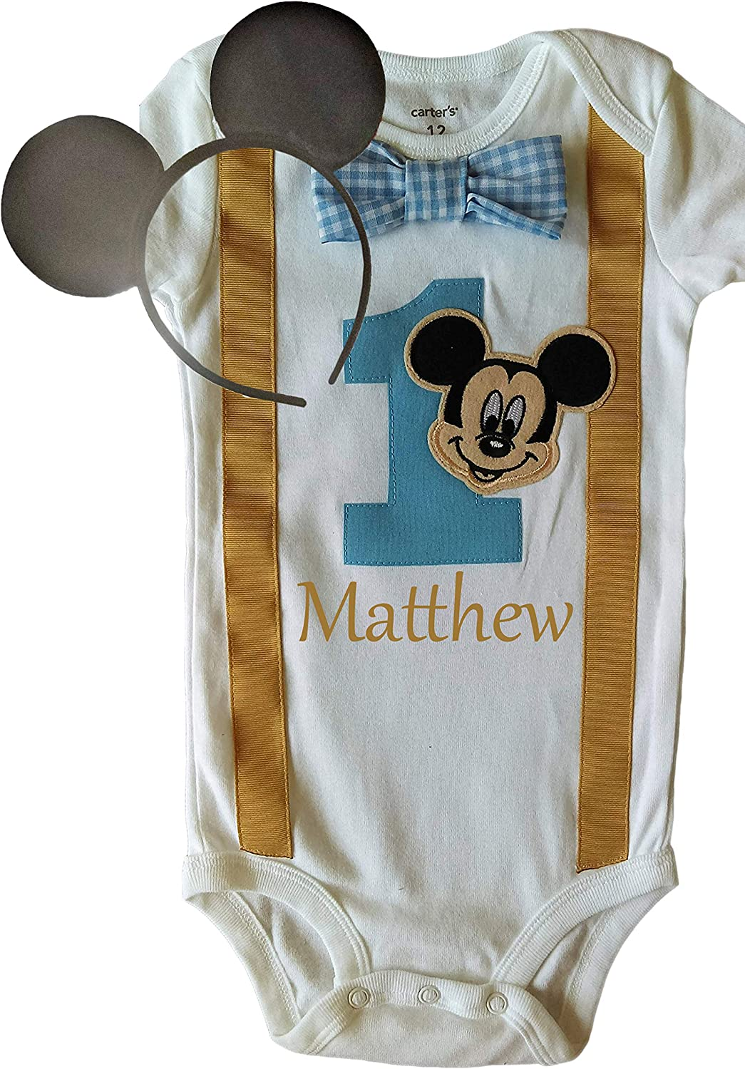 Personalised Baby Mickey Mouse 1st Christmas Bib