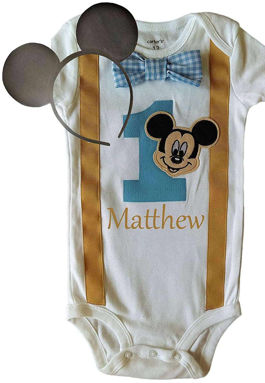 3e946ed0ce90 Amazon.com  Perfect Pairz Baby Boys 1st Birthday Outfit Mickey Mouse  Bodysuit Personalized  Clothing