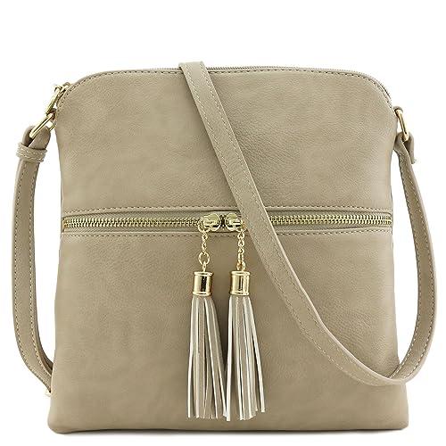 d93a43233bb6 Tassel Zip Pocket Crossbody Bag Beige Brick  Handbags  Amazon.com