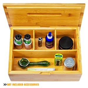 "VUTADA Stash Box Large with Rolling Tray – Handmade Decorative Stash Box - 11"" x 8"" x 4"" Storage Box - Premium Quality Dovetail Design Discrete Wood Stash Boxes (Large)"