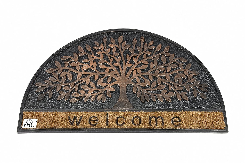 EHC 45 x 75 cm Copper Finish Infinity Tree Entrance Welcome Coir Door EliteHousewares E7-9136