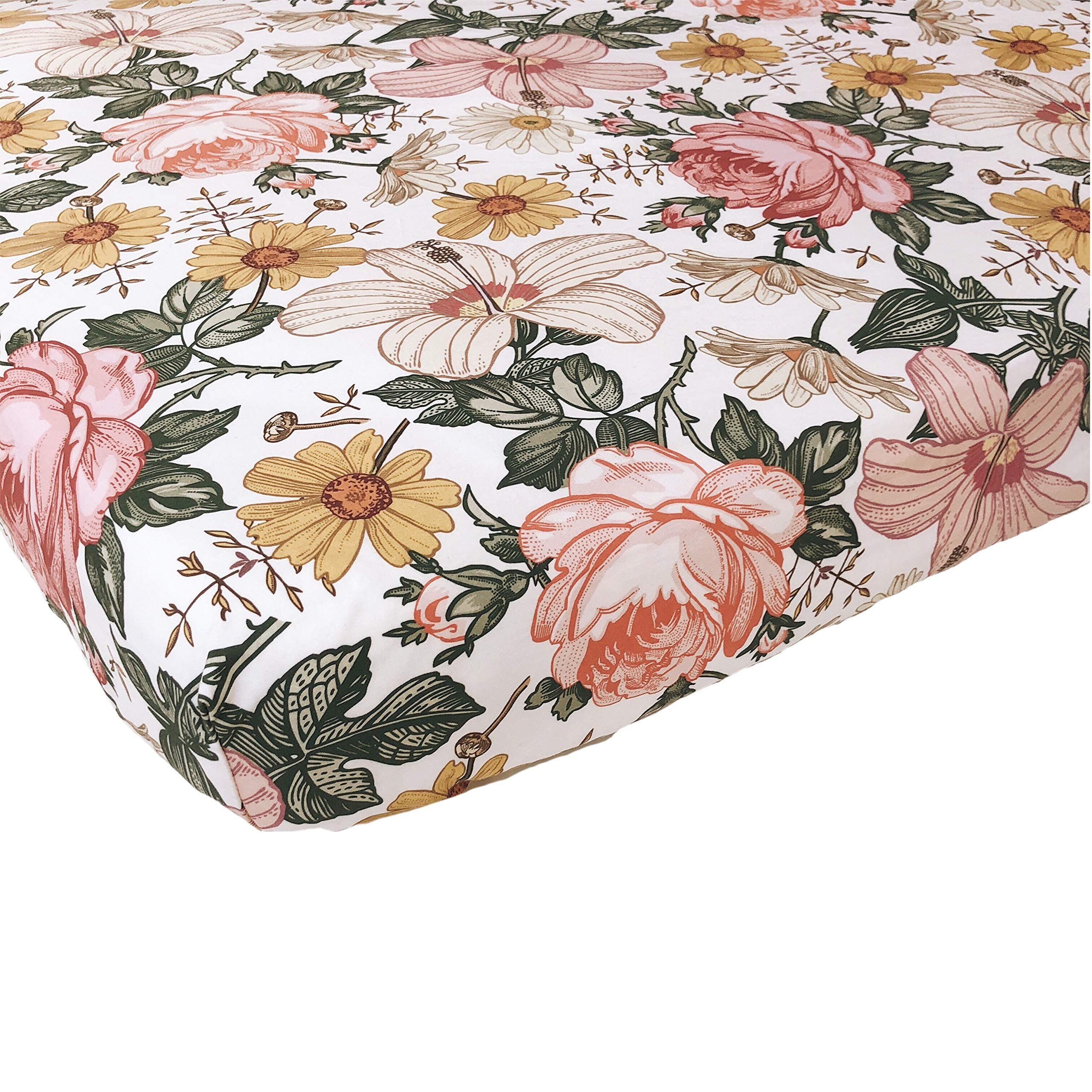 Woven Cotton Crib Sheet - Baby Girl (Garden Floral Crib Sheet) by The Mini Scout