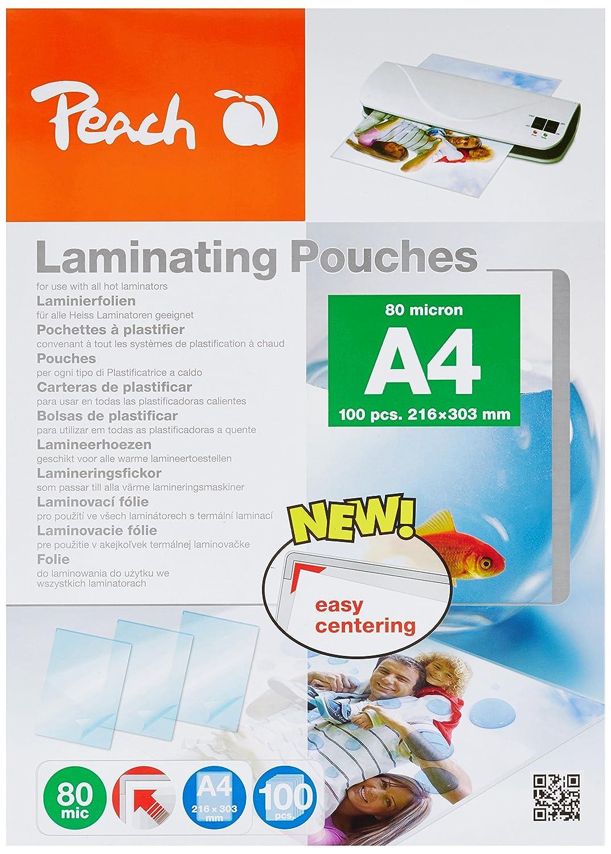 Peach pp580 –  02 Pouches di Plastificazione, Formato A4, 80 micron, 5 x 100 pezzi –  Jumbo Pack per risparmiare collettivi 80micron 5x 100pezzi-Jumbo Pack per risparmiare collettivi 3T Suppl