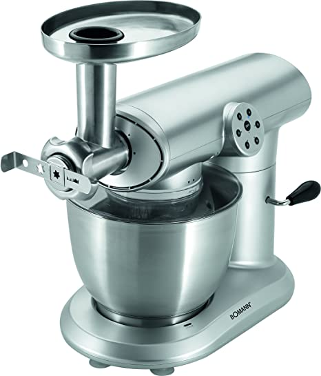 Bomann KM 369 CB Robot de cocina multifunción, batidora amasadora, picadora de carne, 5 litros, 1000 W, color gris, Acero inoxidable|PU|Aluminio, Plateado: Bomann: Amazon.es: Hogar