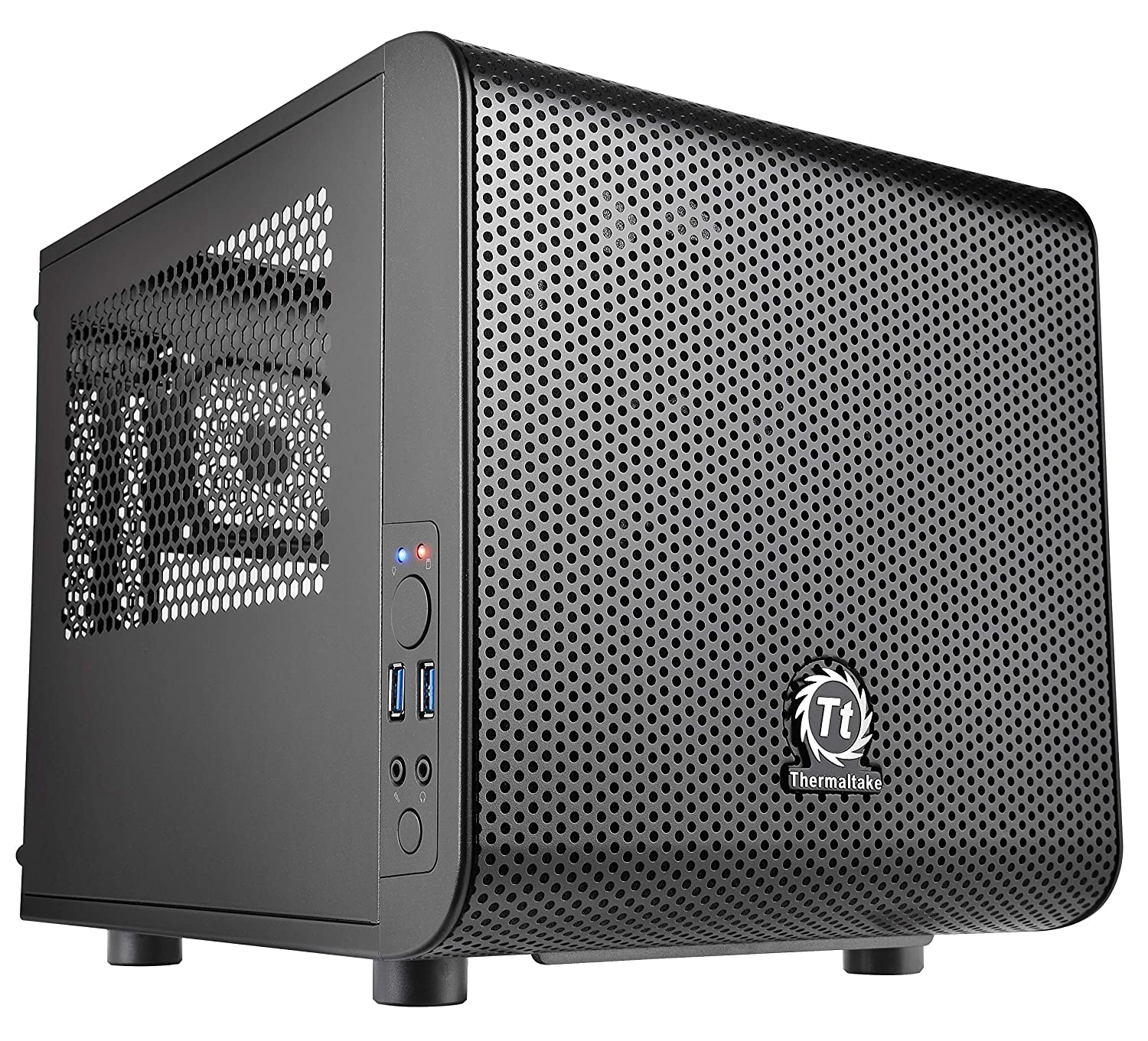 Thermaltake Core V1 SPCC Mini ITX Cube Gaming Computer Case Chassis, Interchangeable Side Panels, Black Edition, CA-1B8-00S1WN-00