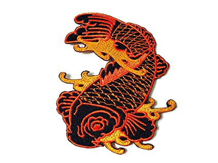 Koi Fish Ying Yang Embroidery Patch Sew Iron on Craft Jacket T shirt Badge Sign