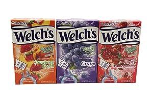 Welchs Singles To Go Variety! Strawberry Peach, Cherry Pomegranate & Grape (Pack Of 6)