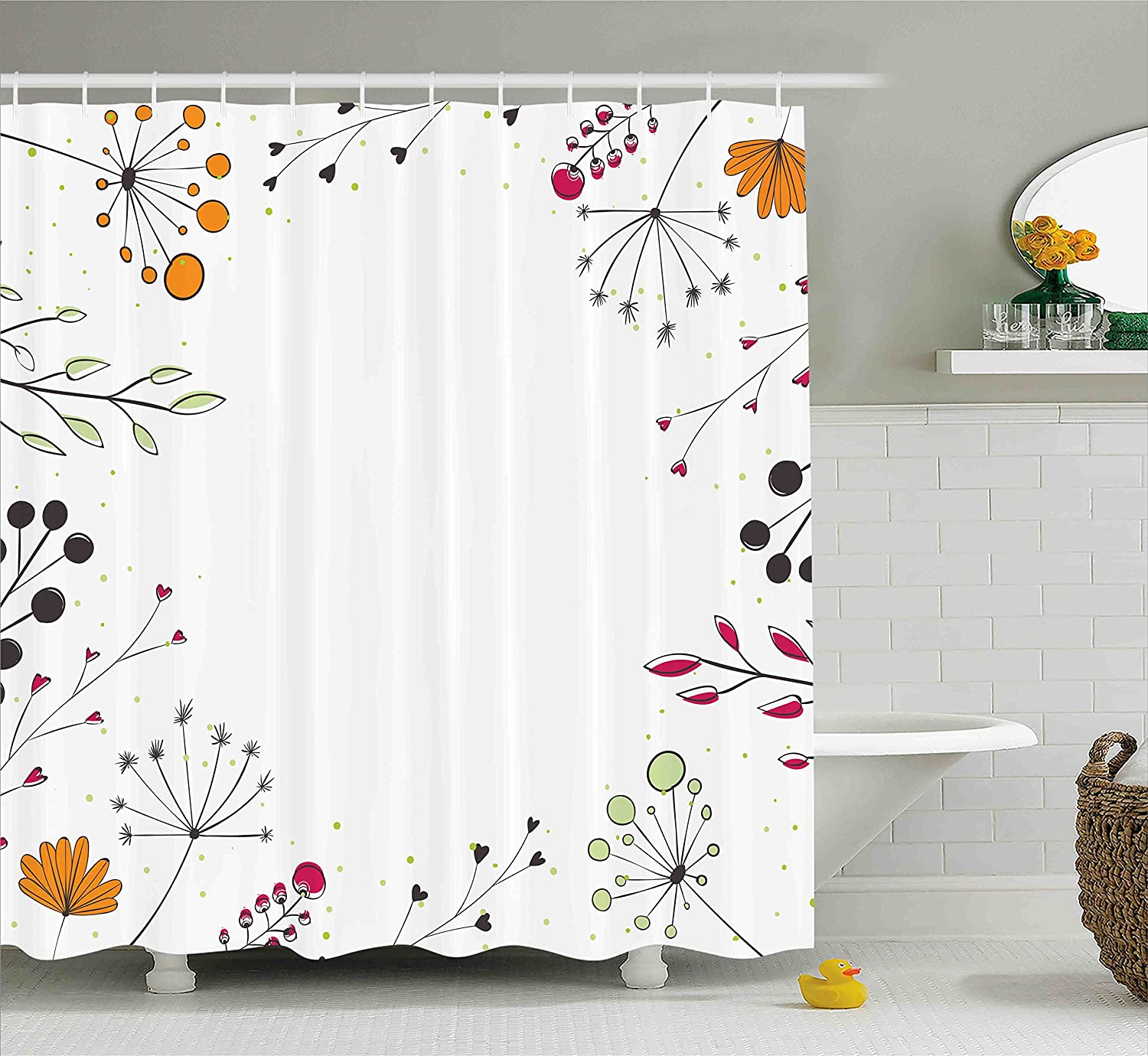 Ambesonne Modern Shower Curtain, Floral Branches with Geometric Flowers Nature Artwork Print, Cloth Fabric Bathroom Decor Set with Hooks, 70