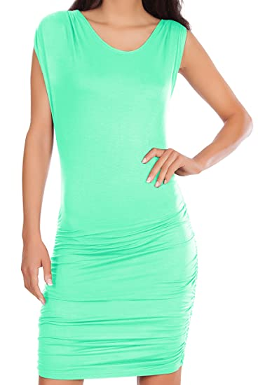 753d354e276 Womens Drape Crew Neck Basic Casual Short Cap Sleeves Stretchy Mini Dress  Aqua Mint