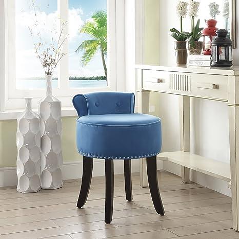Inspired Home Taylor Blue Velvet Vanity Stool - Nailhead Trim | Roll Back |  Button Tufted | Bedroom