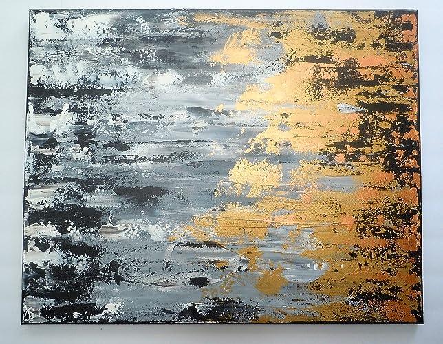Amazon Com Grey White Black Gold Metallic Abstract Original