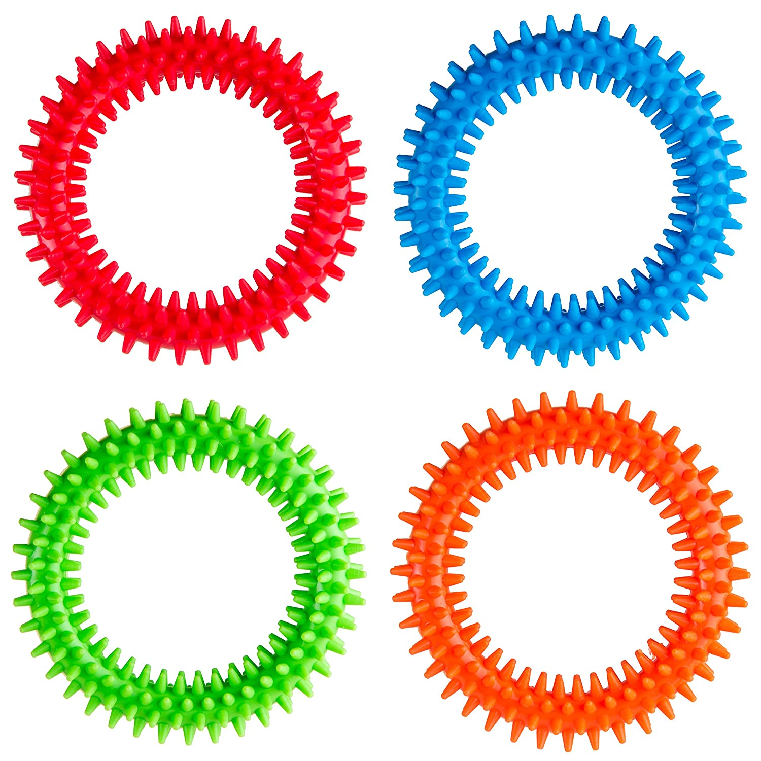 Silicone Spiky Sensory Toy Rings (4-Pack) Tactile Fidget Gadget | Quiet, Fidgeting and ADHD Support | Colorful, Stimulating Massage | Toddler, Youth Friendly Sensory Motor Aid Special Supplies SSRT4