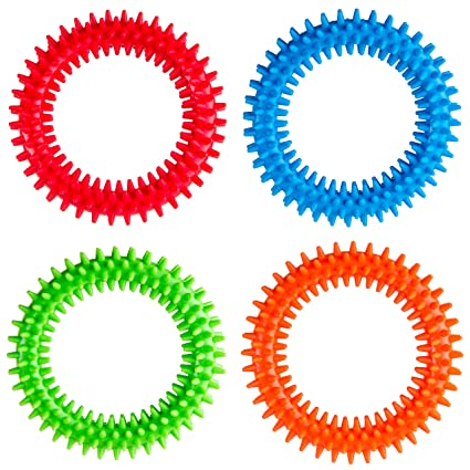 Silicone Spiky Sensory Toy Rings 4 Pack Tactile Fidget Gadget