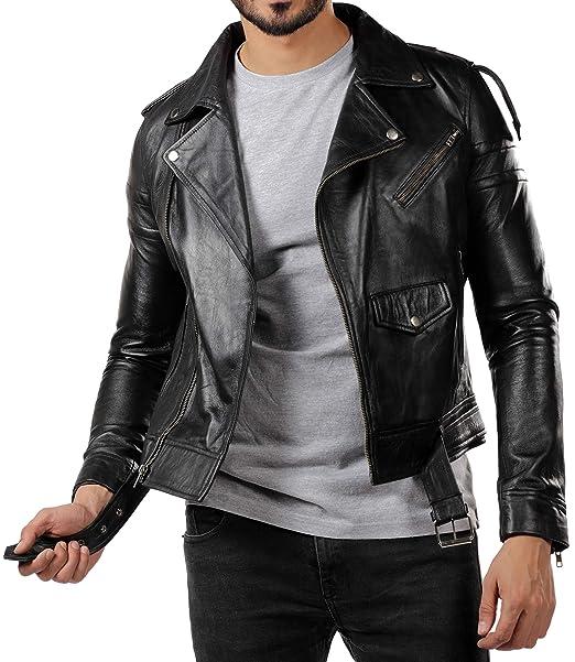 Amazon.com: Chaqueta de piel para hombre, color negro, para ...