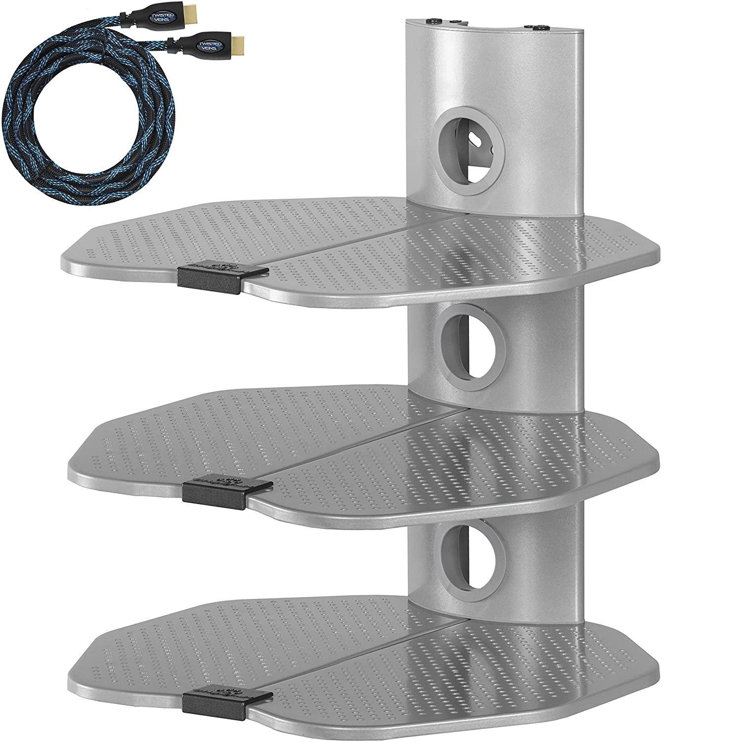 Amazon cheetah mounts as3s 3 shelf tv component wall mount amazon cheetah mounts as3s 3 shelf tv component wall mount shelving bracket with 18x16 shelf 15 twisted veins hdmi cable and cable management for amipublicfo Image collections
